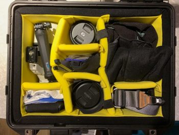 This is what I packed in the case. Two camera bodies (In lens wraps), 100-400mm, 16-35mm and 24-105mm lens. A OSMO Action cam and handle as well as sound gear, lens cloths, blower and a few other little things.