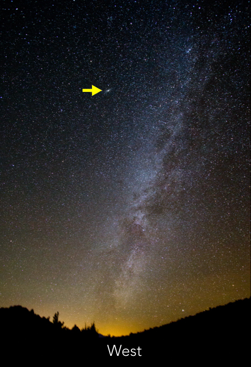 Wide angle shot of the sky, looking West with the Andromeda galaxy marked