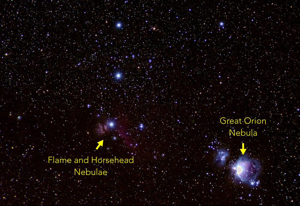 Telephoto shot of the constellation Orion with nebulae identified