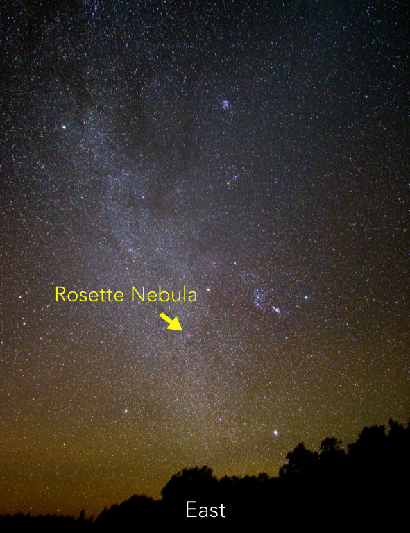 Wide angle shot of the sky, looking East with Rosette Nebula identified