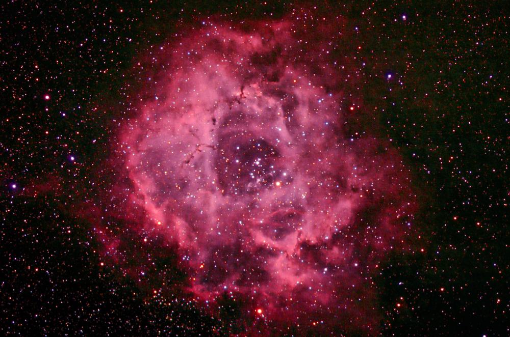 Rosette Nebula through an 80mm refractor telescope