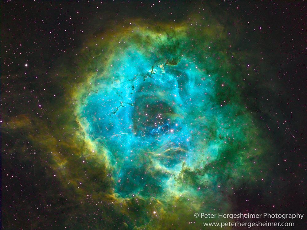 Narrowband image of the Rosette Nebula through an 80mm refractor telescope