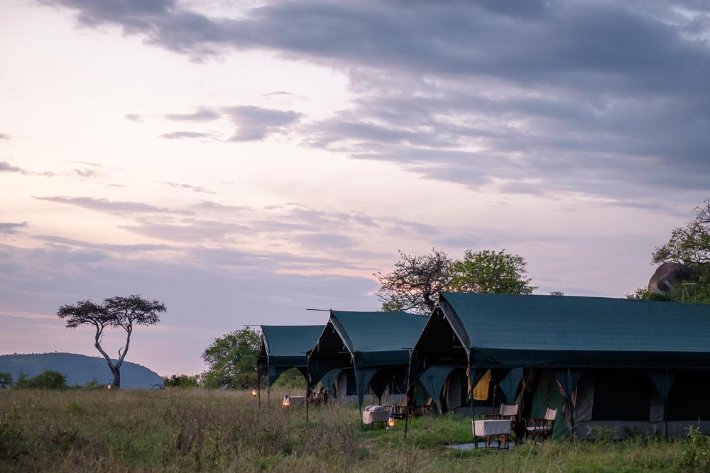 Sunset at a camp in the central Serengeti.