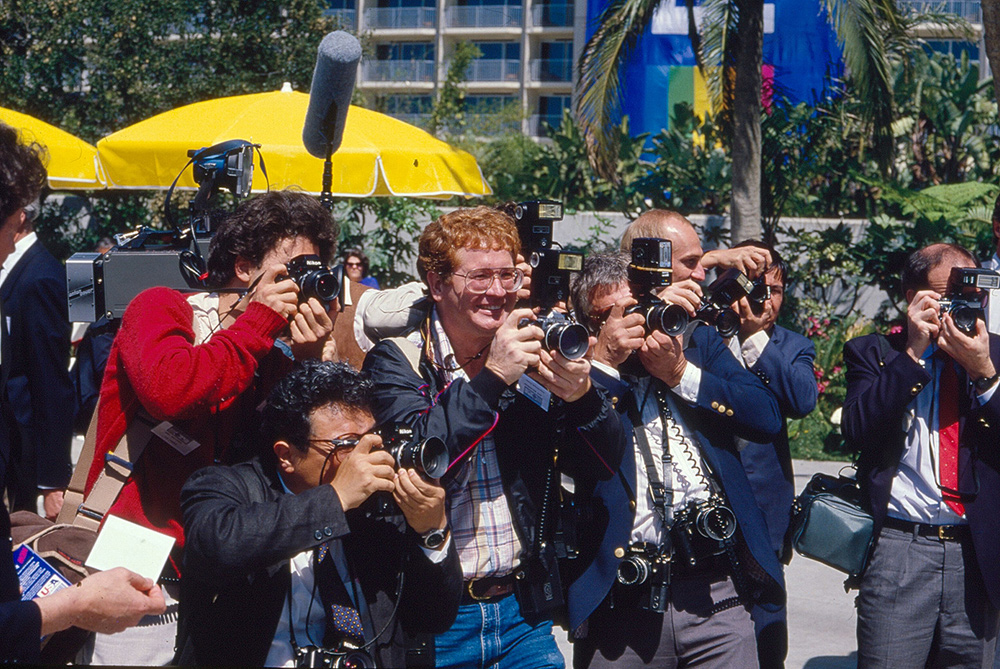 This photo of photographers was made in the mid-nineteen eighties on Kodachrome. (note the ACDs: Analog Capture Devices), a film with a well-deserved reputation for retaining color and density (when properly stored) and being, today, an easy scanning emulsion.