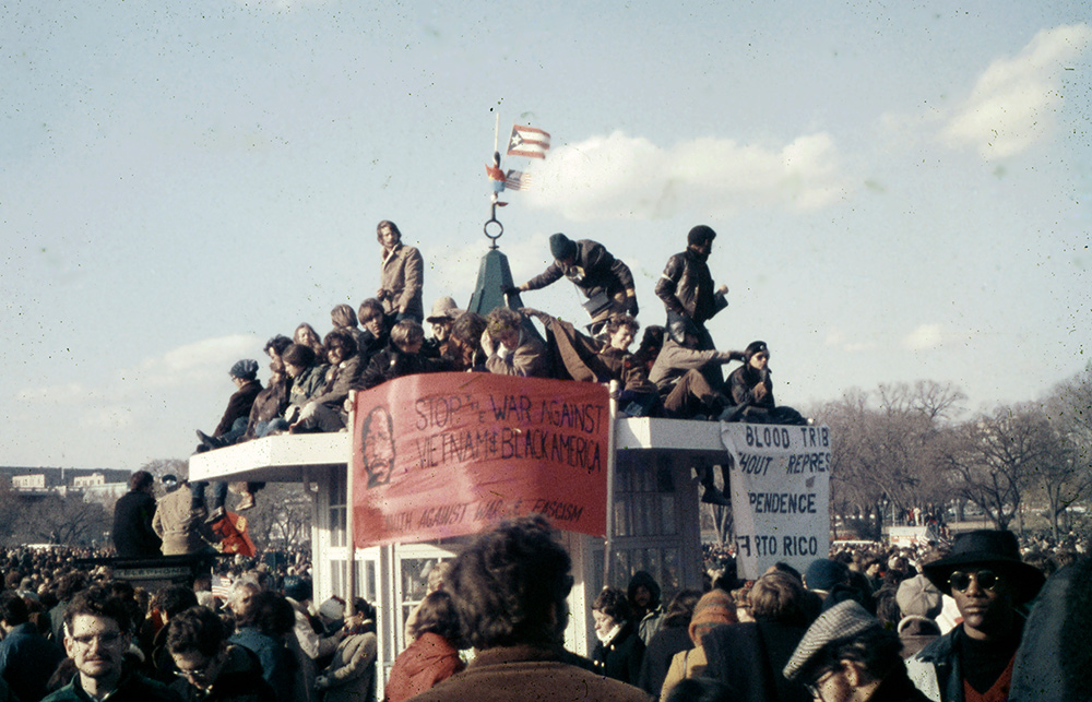 Regardless, it's a historical shot for me, being a snap I made during an anti-war demonstration in DC almost fifty years ago. I scanned it and got to work on the color shift and contrast, plus a good deal of Healing Brush work to clean it up a bit (though there's still more work to be done.