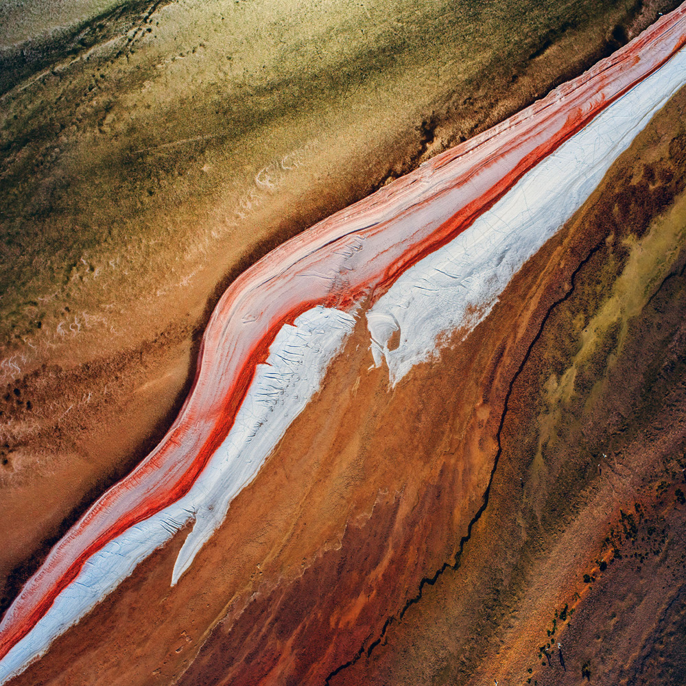 Using textures in abstract images for balance. Lake Eyre, Australia.
