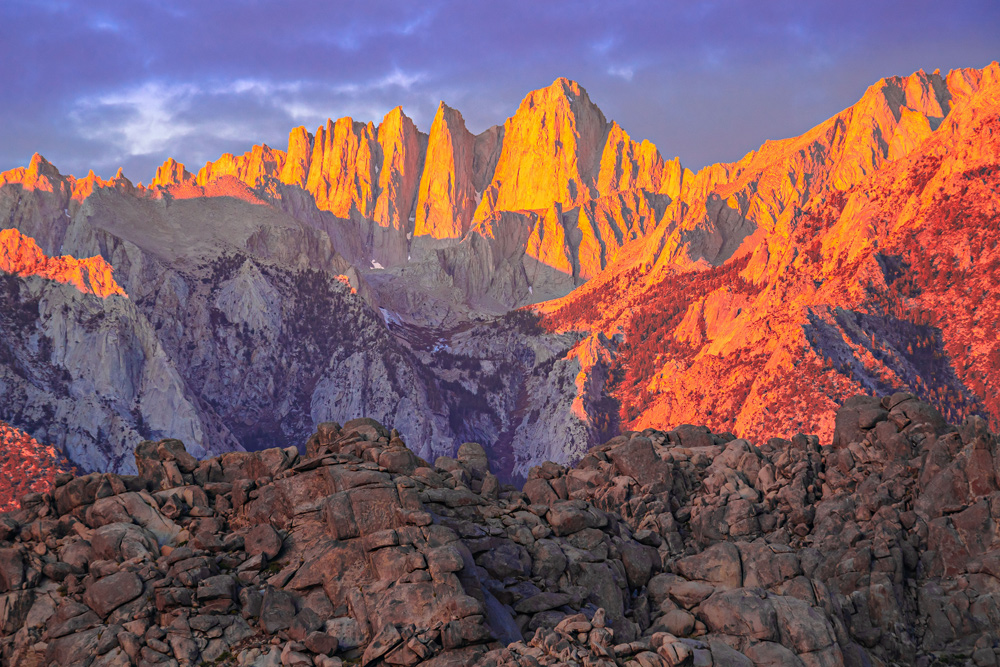 Mount Whitney and the Eastern Sierra Nevada in reds and yellows, Alabama Hills.