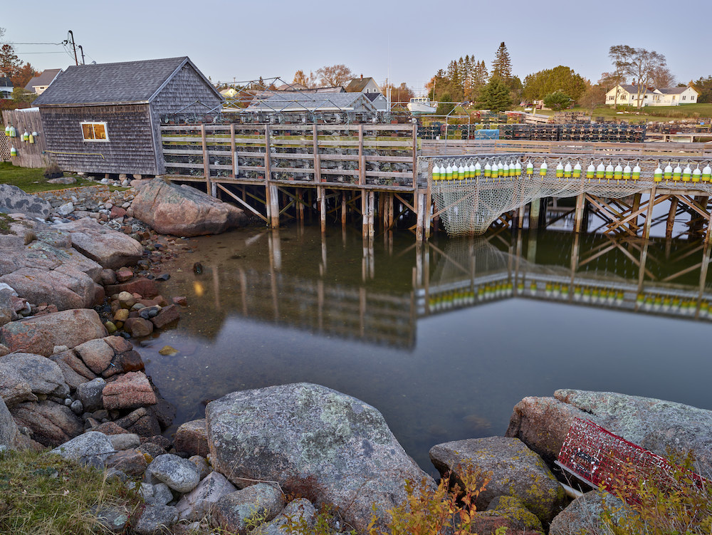 Photographing from a dock in Corea, ME