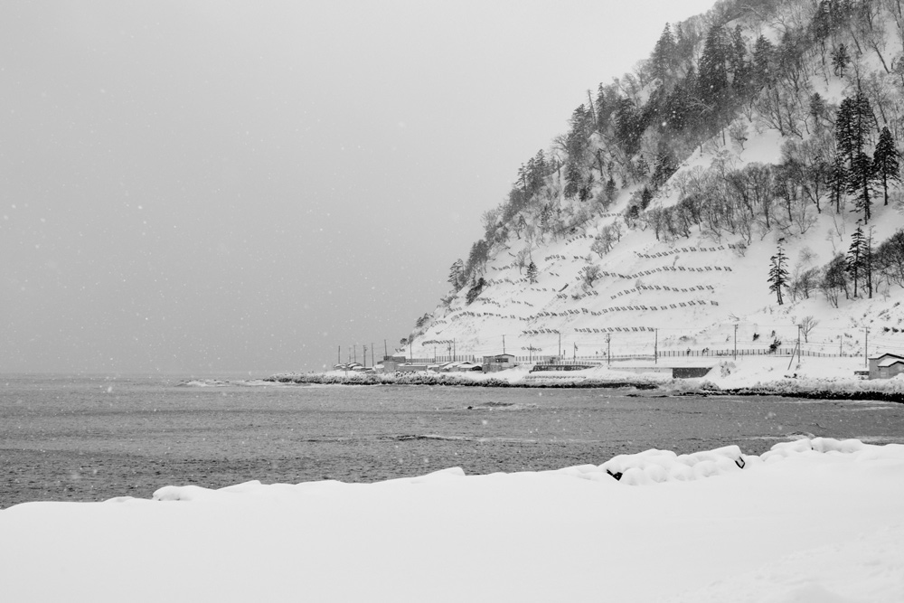 A good shot of the road showing the hillside, snow fences, and coastline
