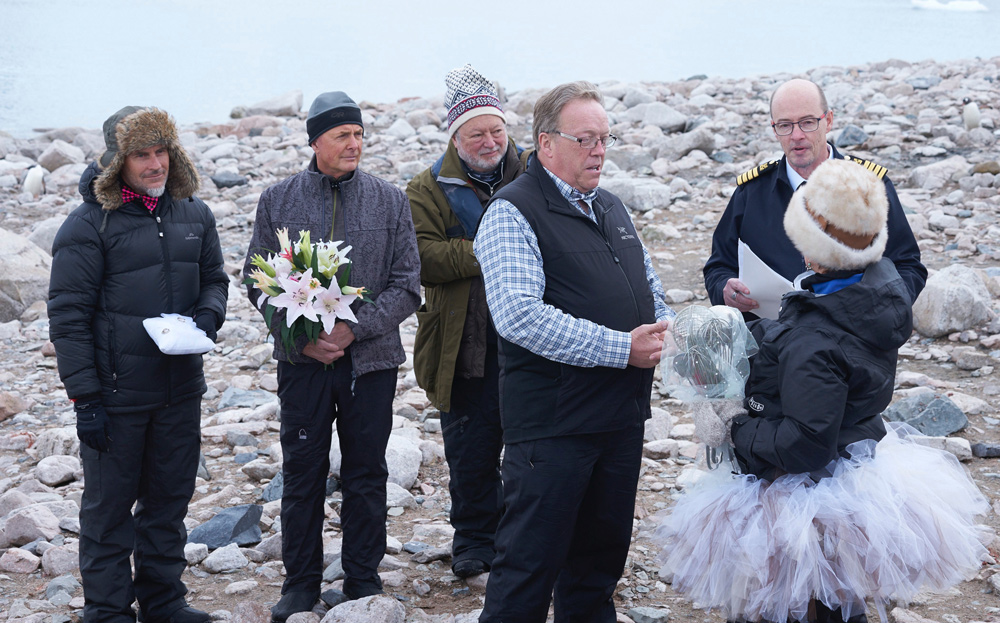 Our wedding ceremony in Antarctica.  Christian Fletcher, Art Wolfe, and Micahel Reichmann are my best men