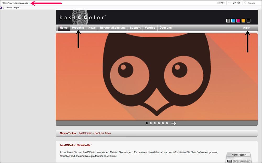 Figure A1-3 basiccolor Home Page
