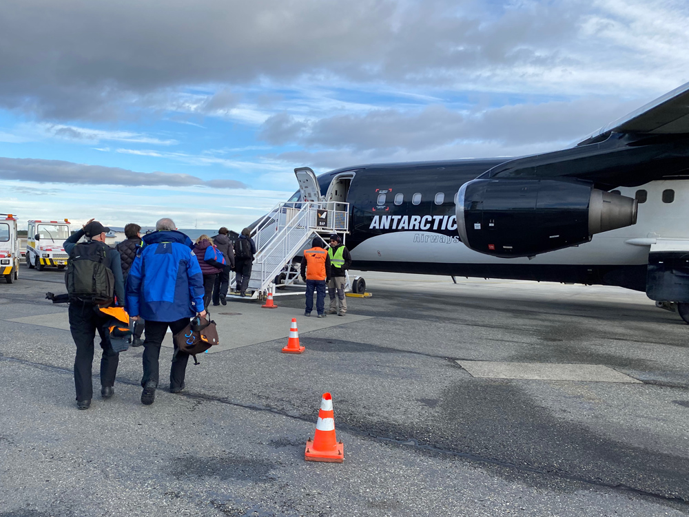 Boarding the flight to King George Island. We are on our way.