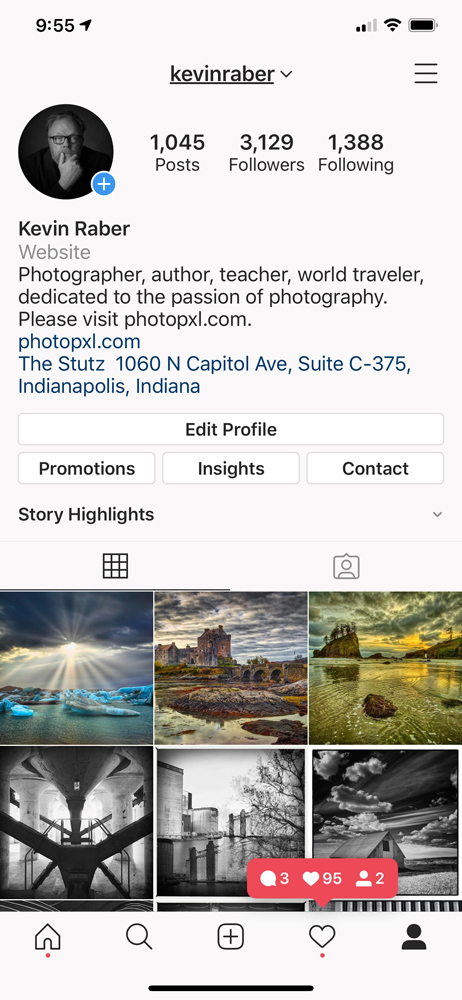 My Instagram page on an iPhone