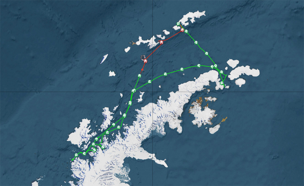The GPS track from our voyage