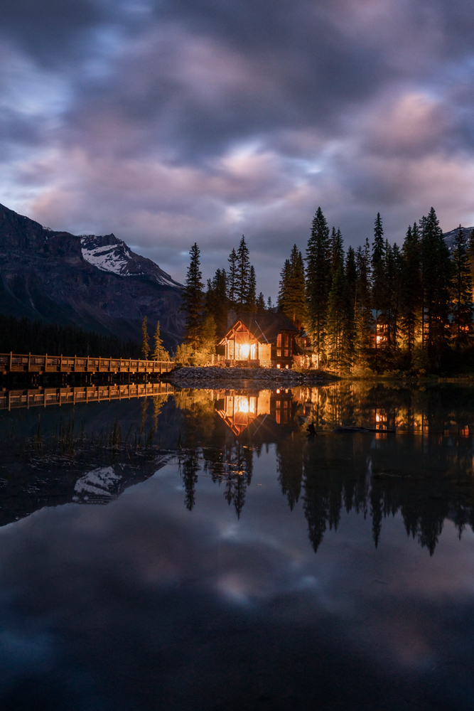 The star effect on the light of this lodge was visible at f/4. The image is a single shot at f/8.