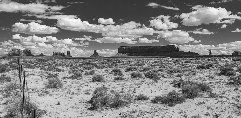 """Monument Valley from Rte. 163, May 2010"""" in B&W"""