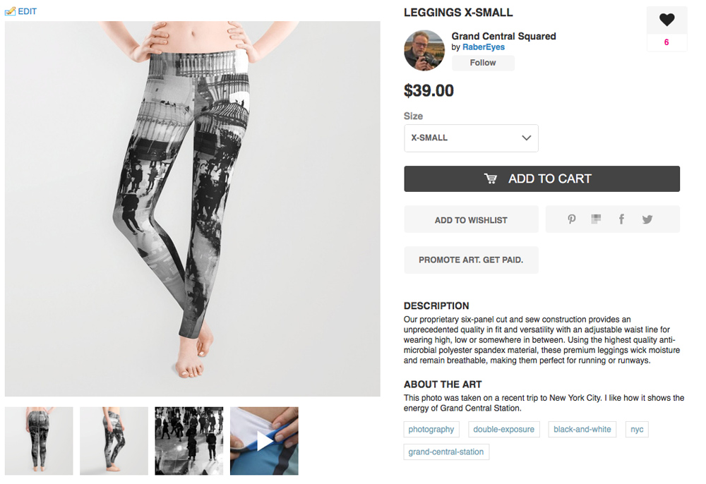 Our leggings product. Notice that there are various views and detail of the product as part of the description.