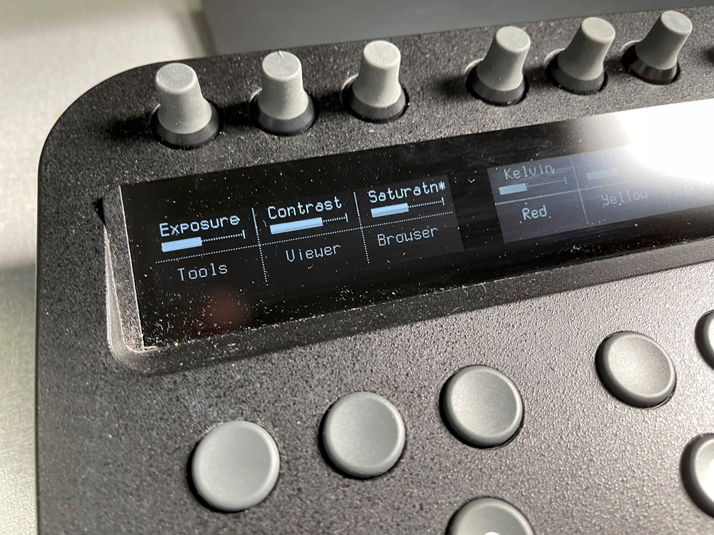 The first set of the top row of knobs and buttons> you can easily see the display readout.