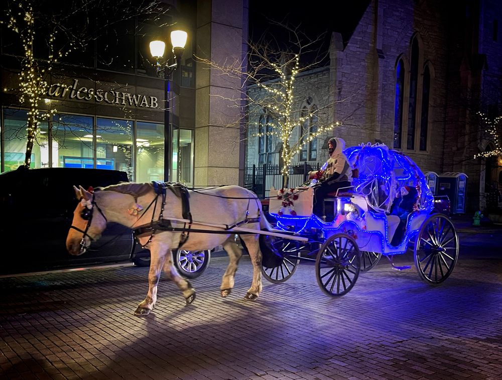 Lighted carriage rides are very popular