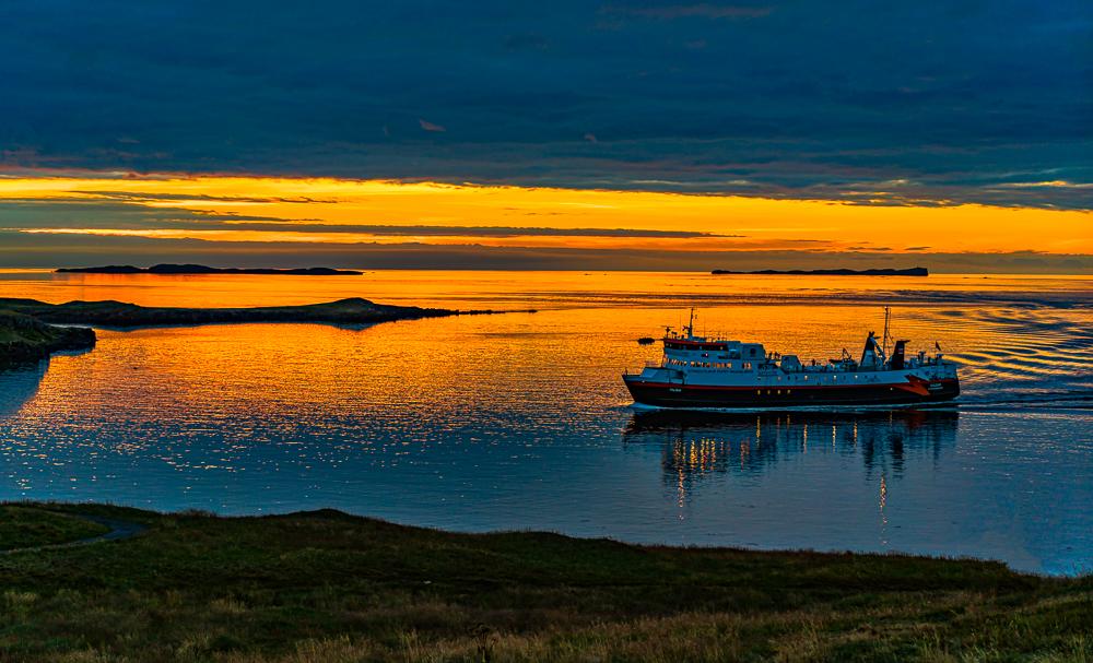 Evening Ferry Nearing Stykkisholmur, Iceland