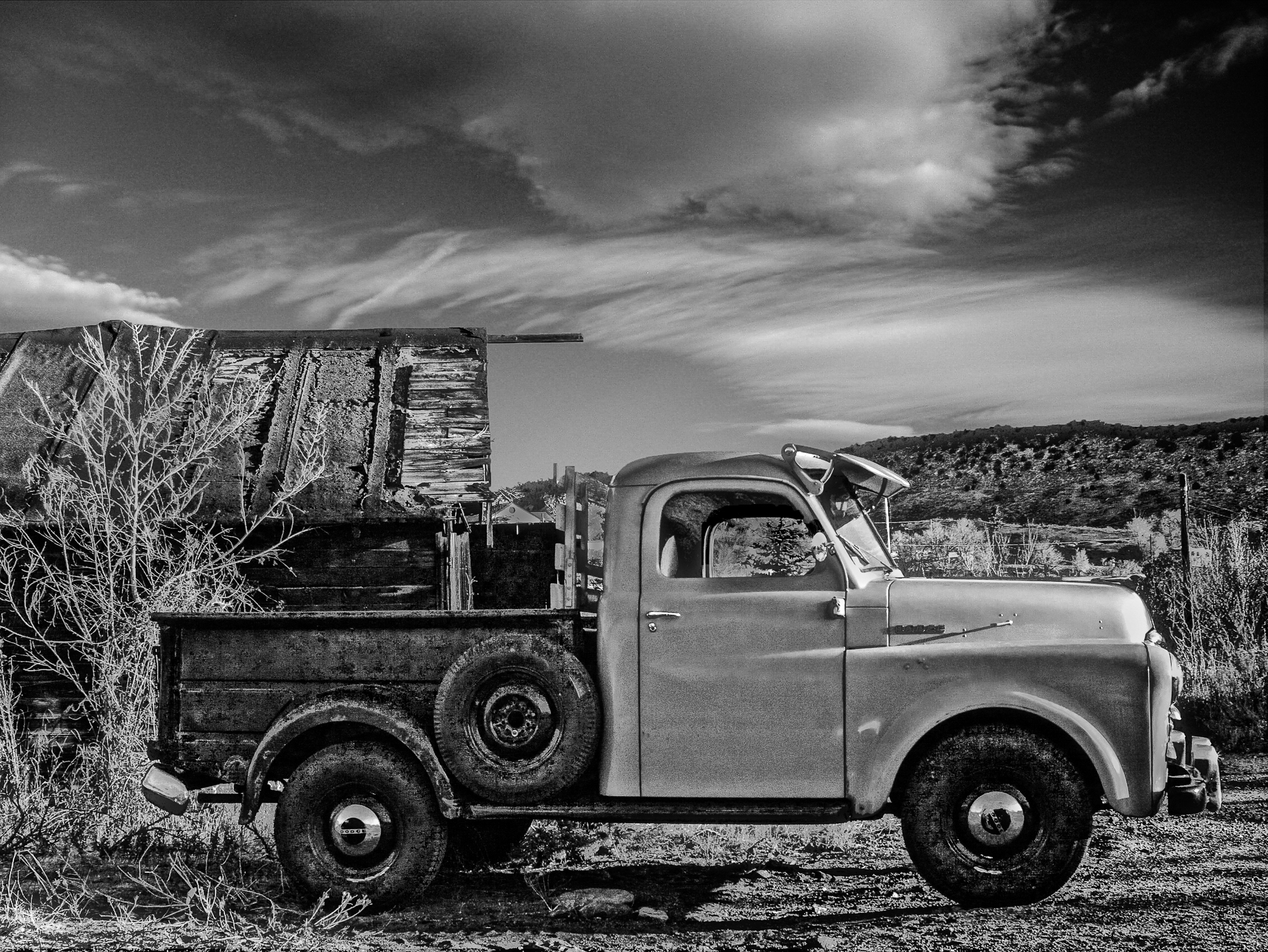 Dodge Truck B&W with sky & lighting