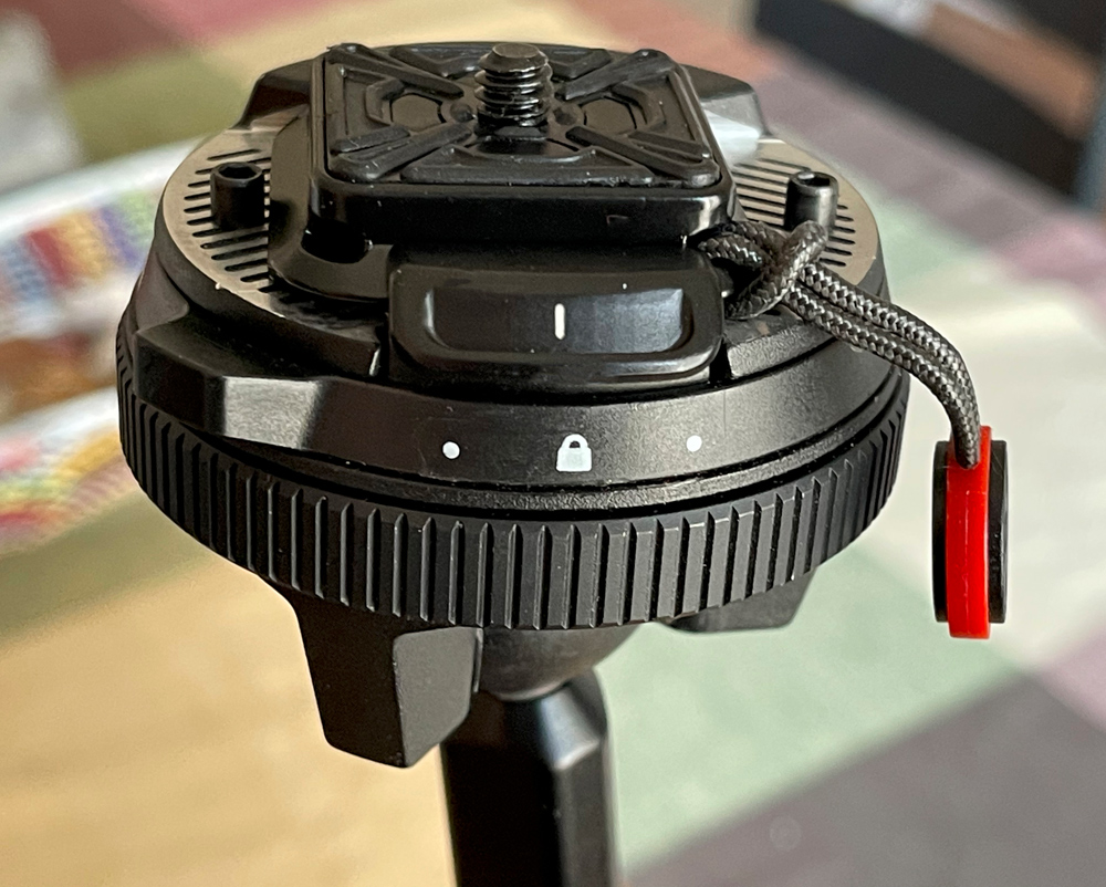 The camera locking collar in the locked position