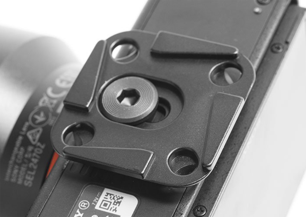 Mounting plate shown on a camera