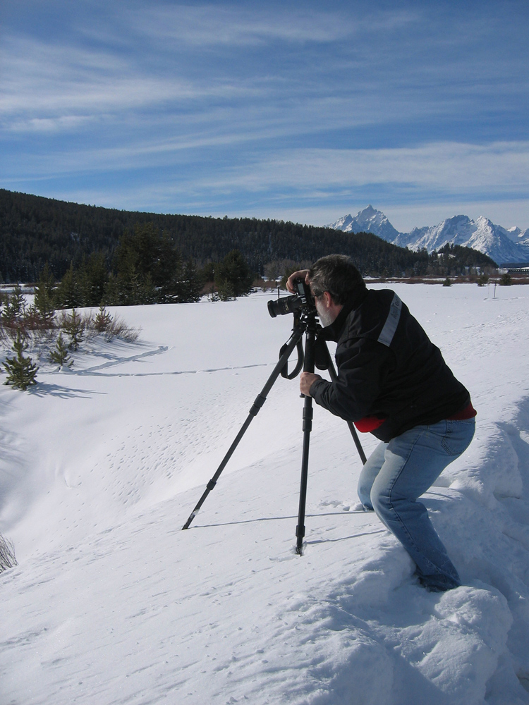 Jody in Yellowstone, notice the well practiced squat and shoot technique.