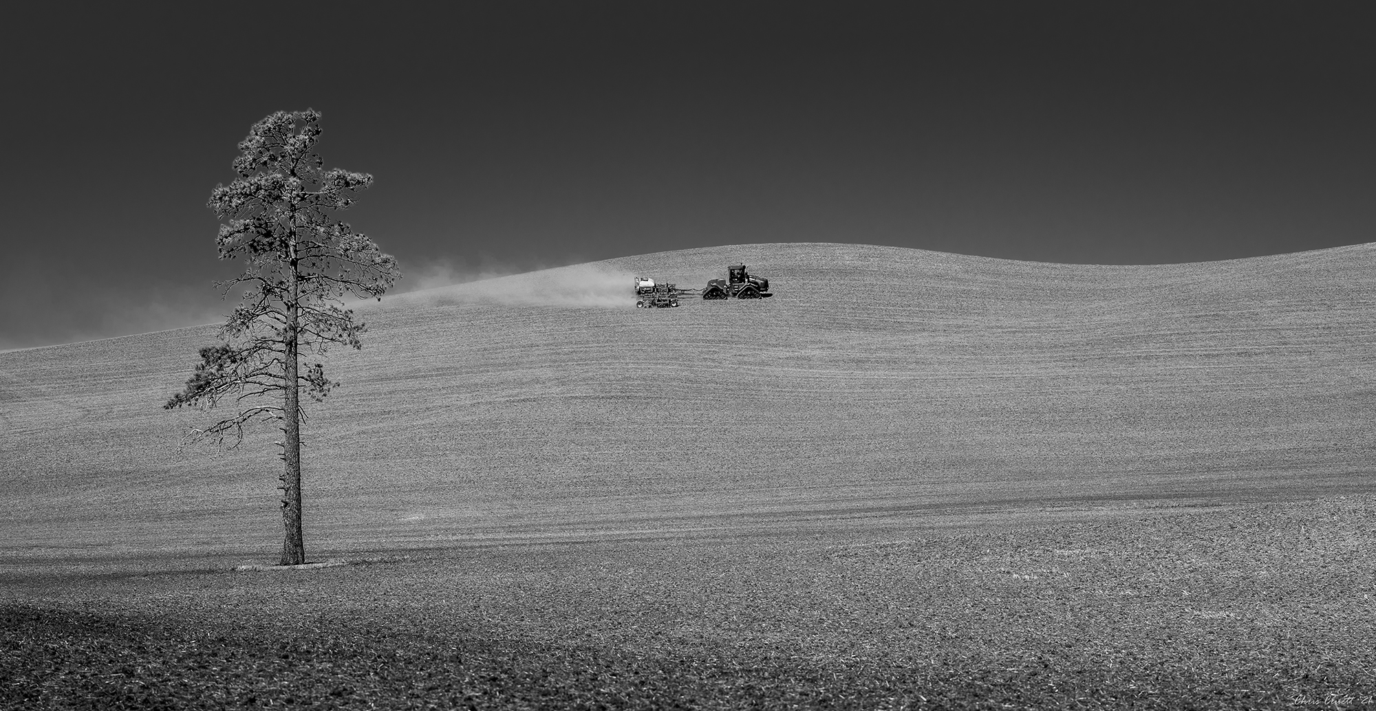 Alone in the endless rolling hills of the Palouse.