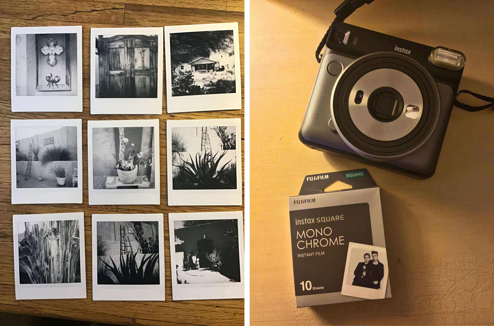 The Fuji Instax photographs I created and the Fuji Instax Square and Mono Chrome film together with A contemporary look but not quite the cachet of the SX 70