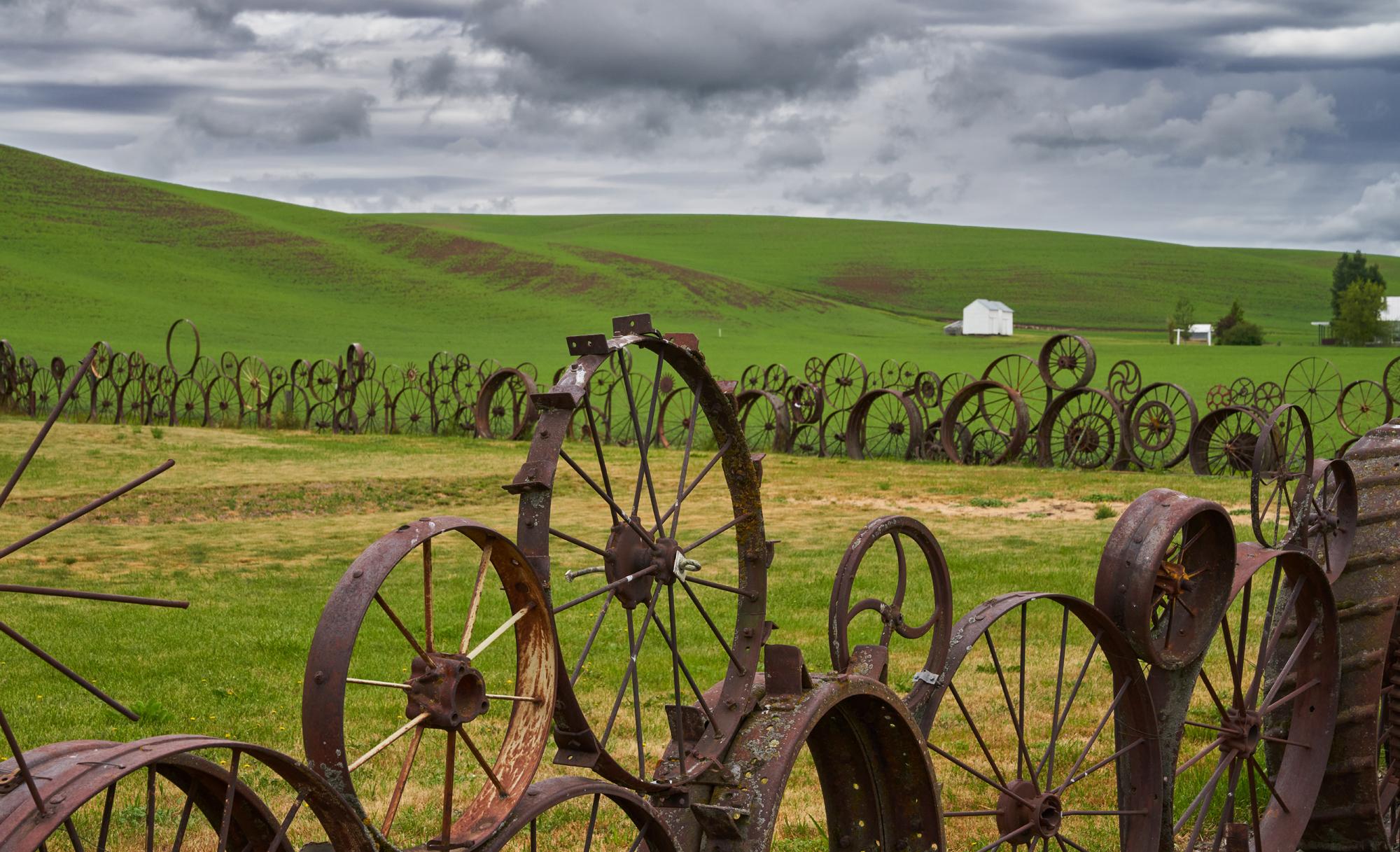 The iconic wagon wheel fence